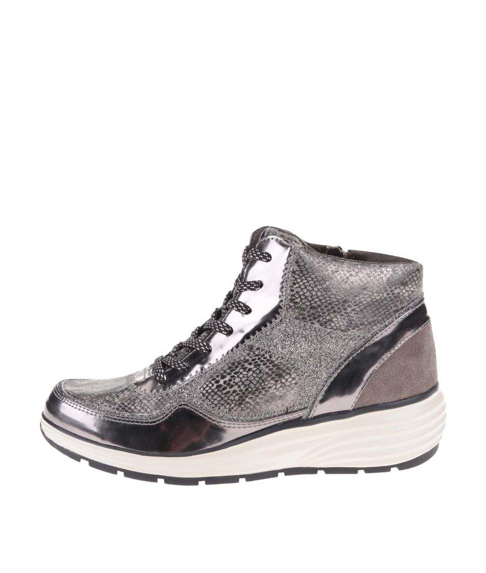 Stříbrno-šedé kožené tenisky Tamaris
