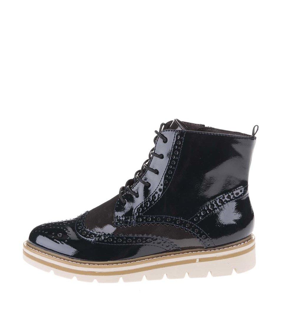 Šedo-modré lakované kotníkové boty Tamaris