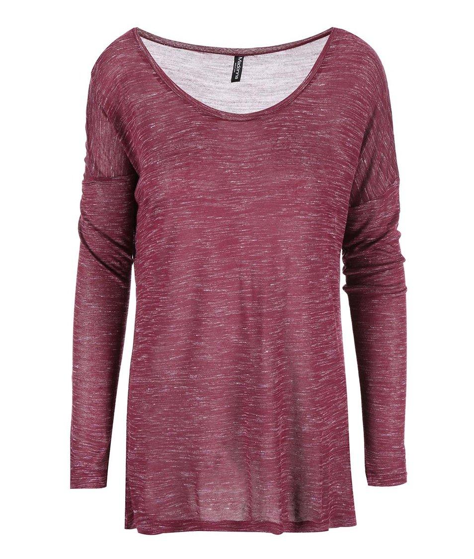 Vínové žíhané tričko s dlouhým rukávem Madonna Joie
