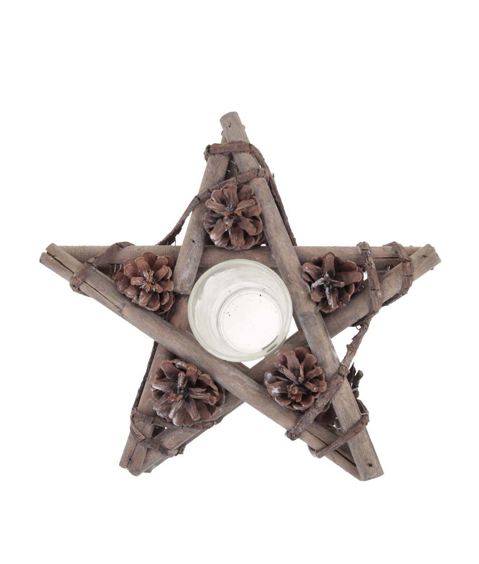 Hnědý dřevěný svícen ve tvaru hvězdy Dakls