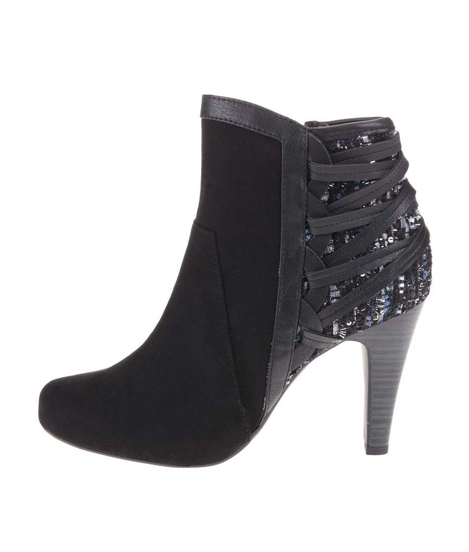 Černé kotníkové boty na vysokém podpatku Tamaris Trend