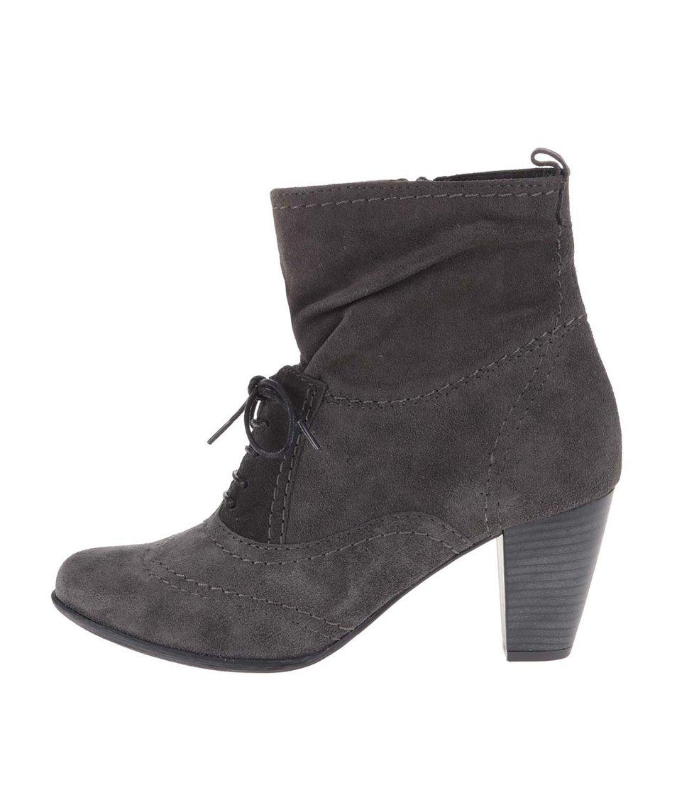 Šedé vyšší kotníkové boty na podpatku Tamaris Trend