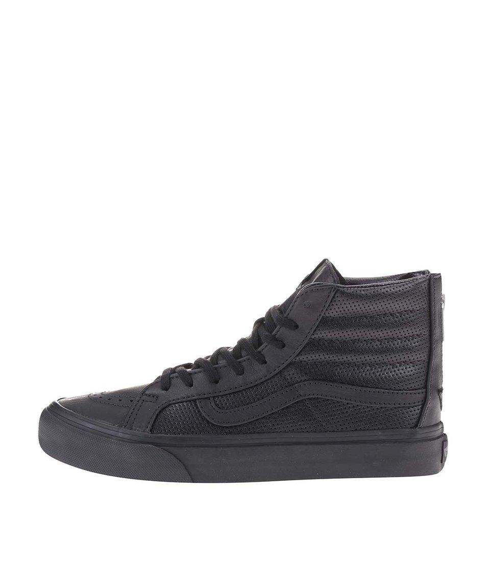Černé dámské kožené kotníkové tenisky Vans SK8-HI