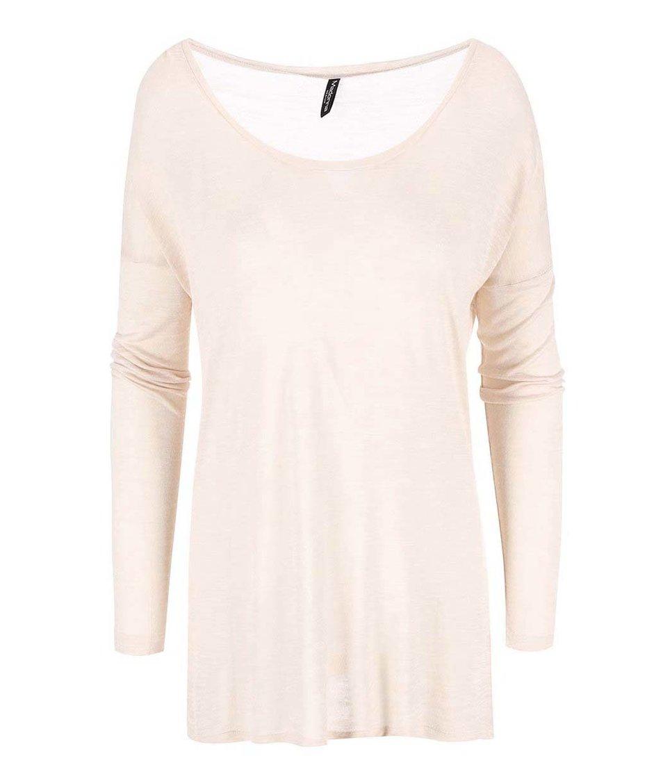 Světle béžové žíhané tričko s dlouhým rukávem Madonna Joie
