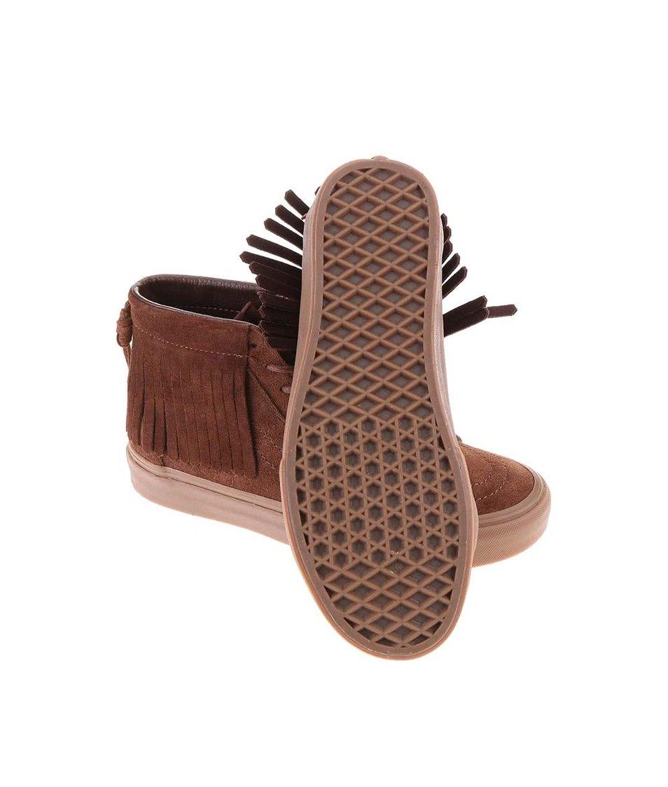 Hnědé dámské kožené kotníkové tenisky s třásněmi Vans