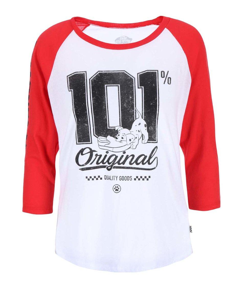 Červeno-bílé dámské tričko s potiskem Vans