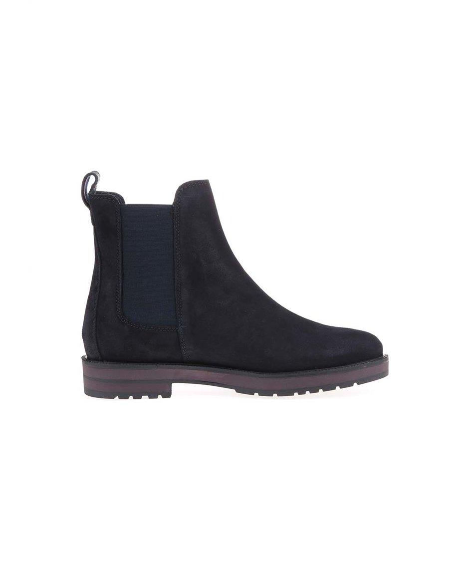 Tmavě modré dámské kožené chelsea boty Tommy Hilfiger West