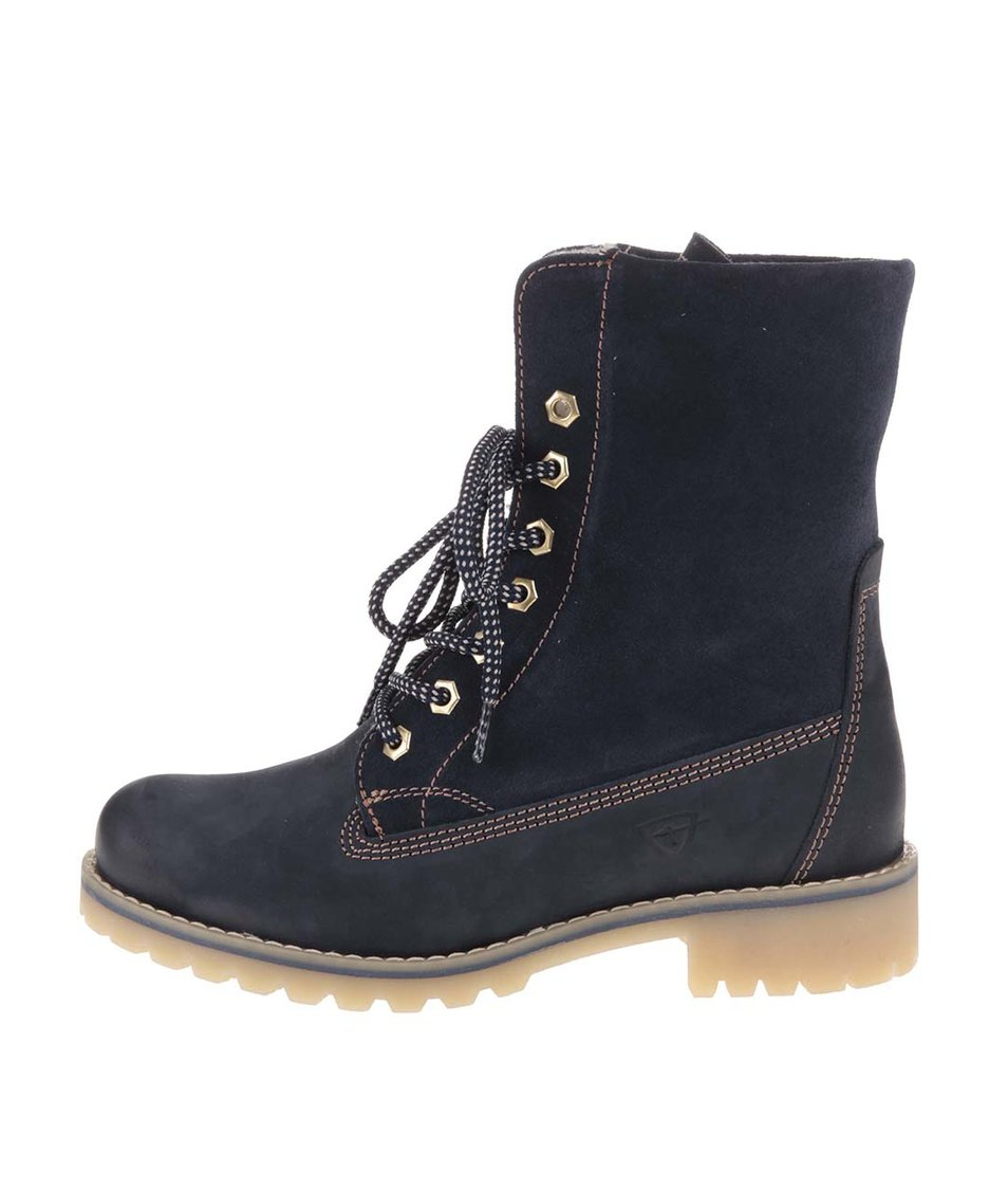 Modré zimní kožené boty s kožíškem Tamaris