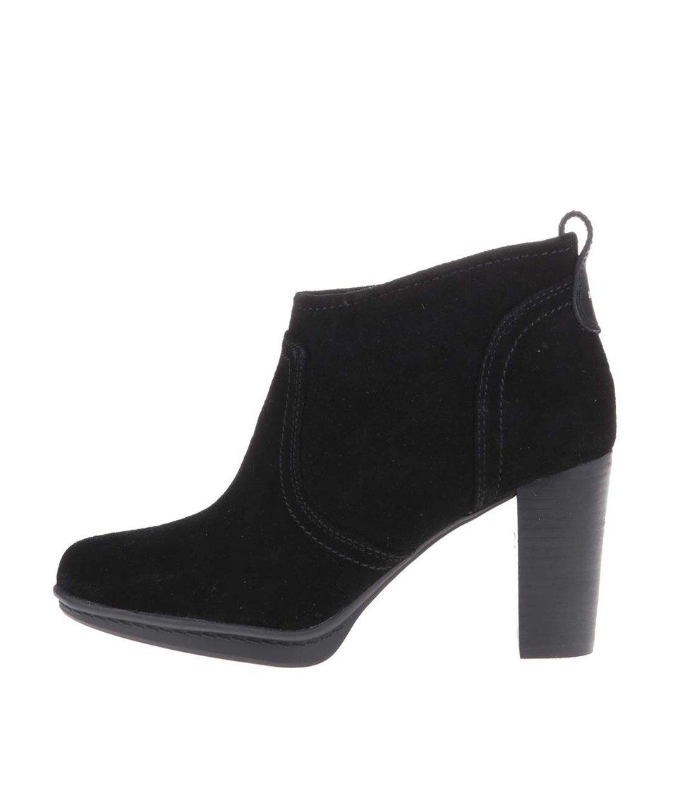Černé kožené boty na podpatku Tommy Hilfiger Jakima