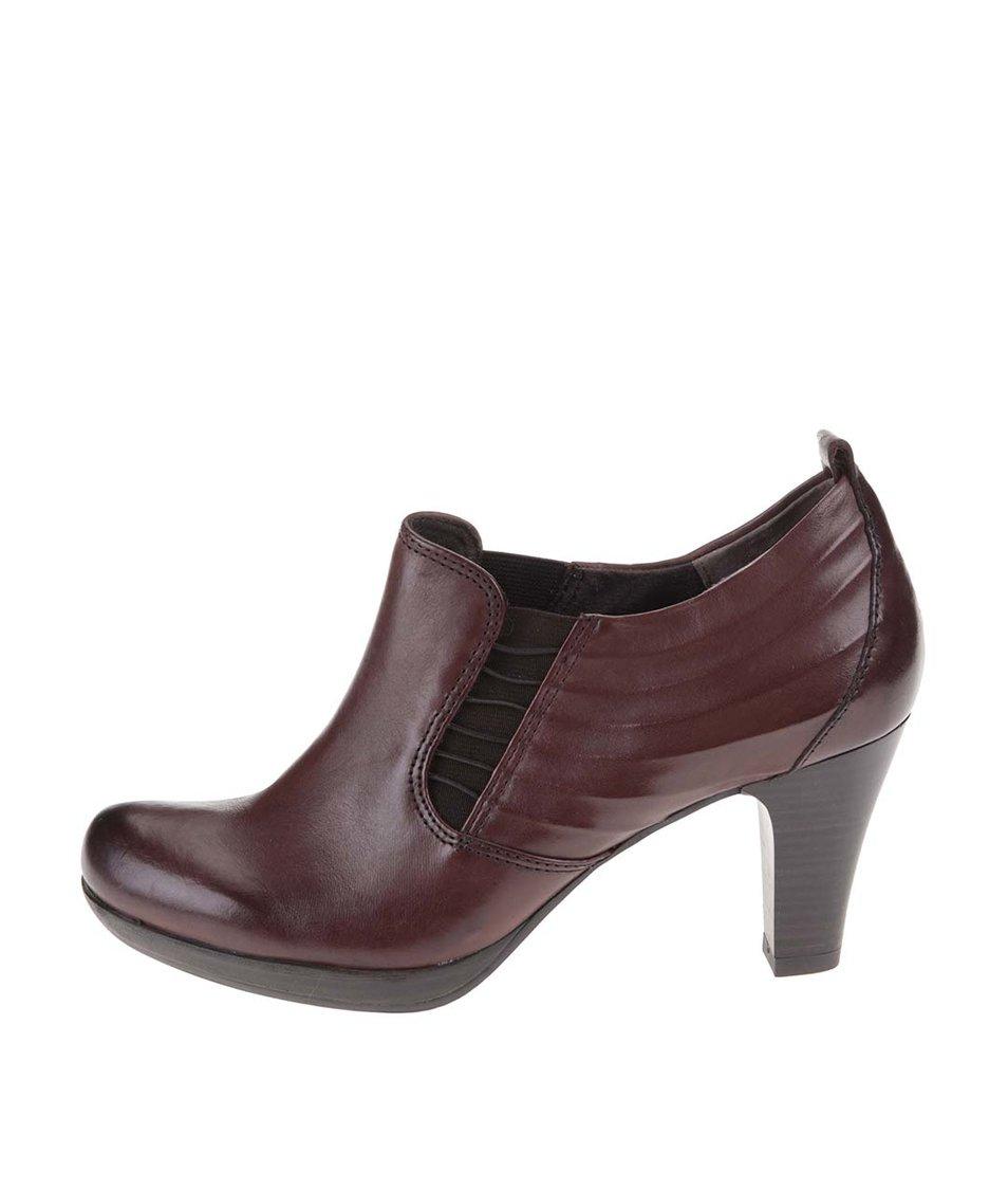 Hnědé kožené boty na podpatku Tamaris