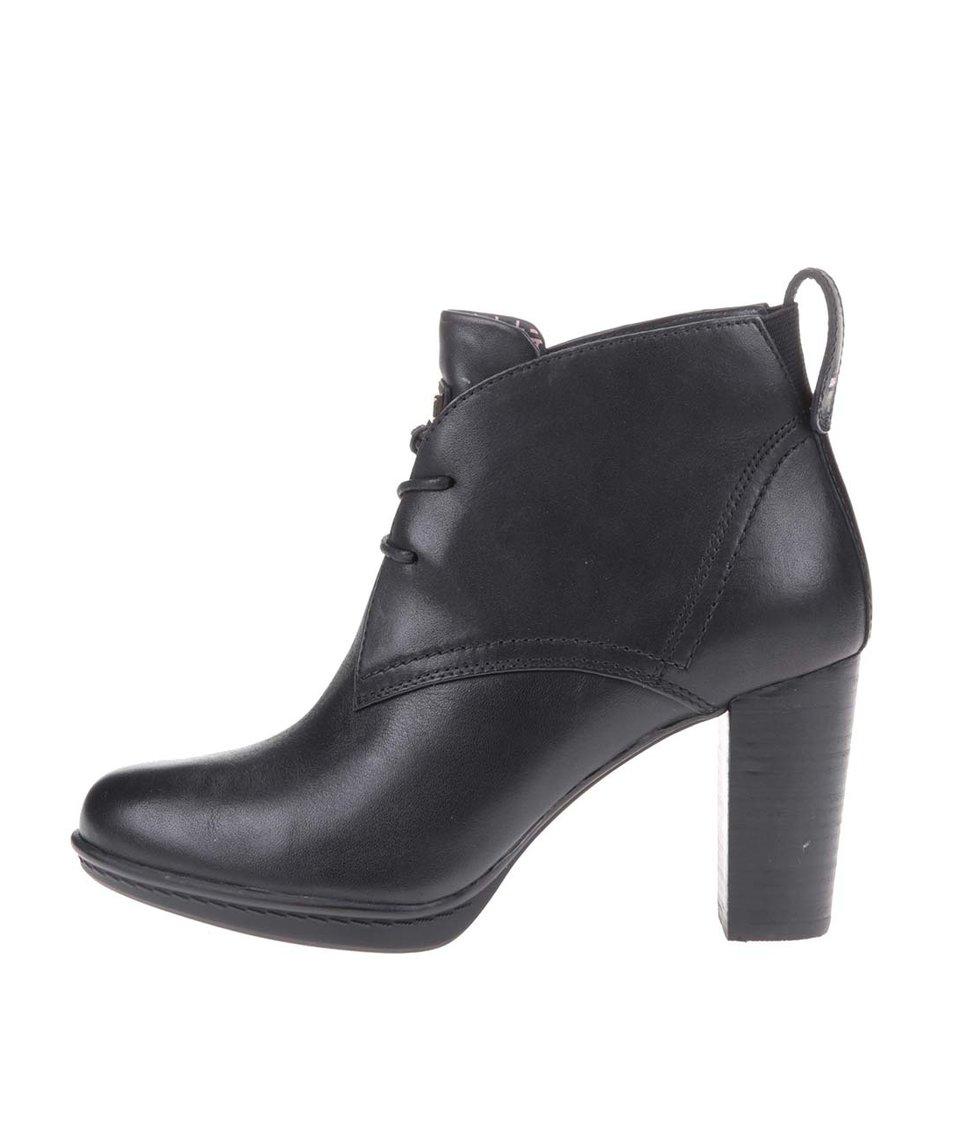 Černé kožené šněrovací boty na podpatku Tommy Hilfiger Jakima