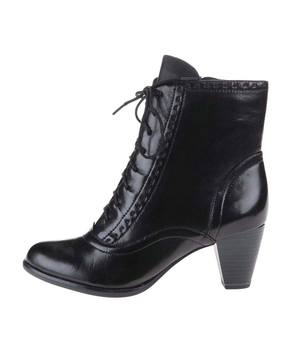 Černé kožené kotníkové boty na podpatku se šněrováním Tamaris