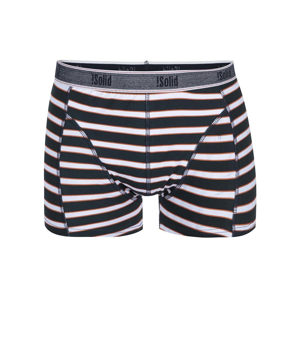 Bílo-černé boxerky s oranžovými pruhy !Solid Sem