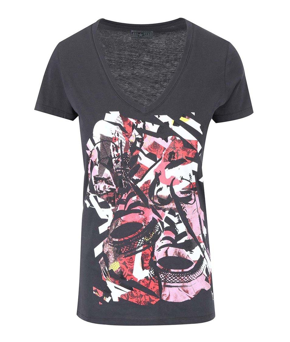 Šedé dámské tričko s potiskem Converse