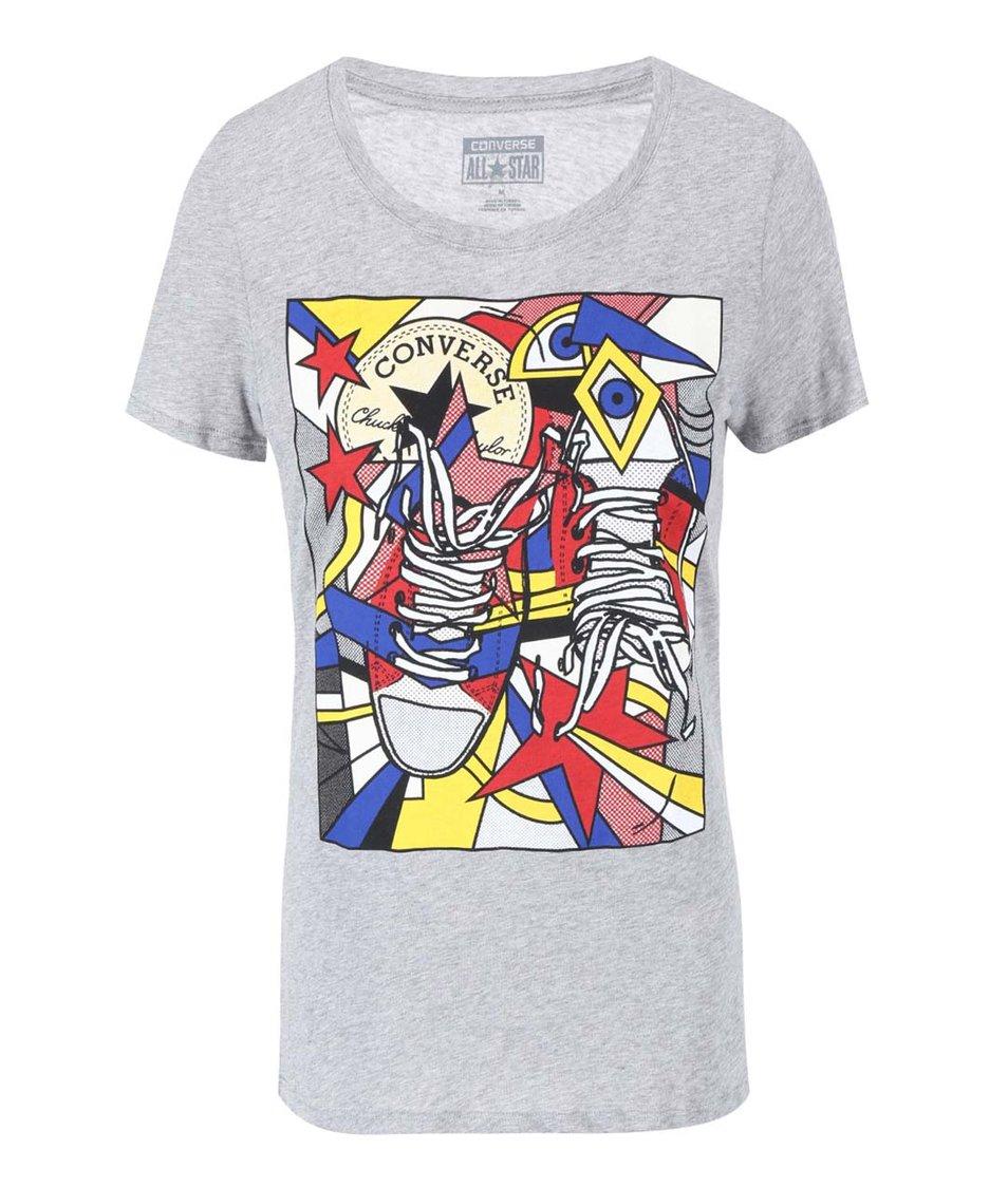Šedé dámské tričko s barevným potiskem Converse
