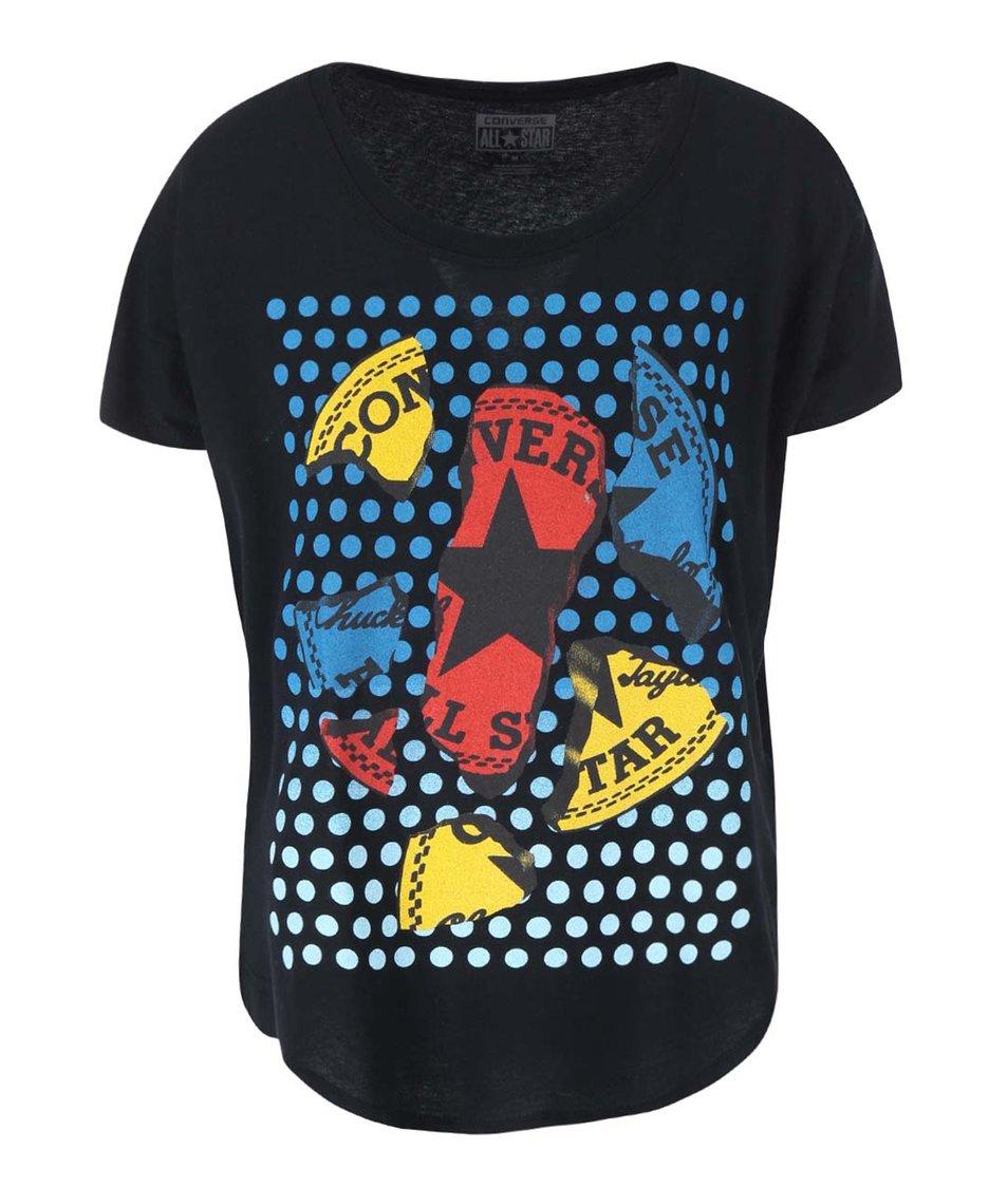 Černé dámské tričko s potiskem Converse