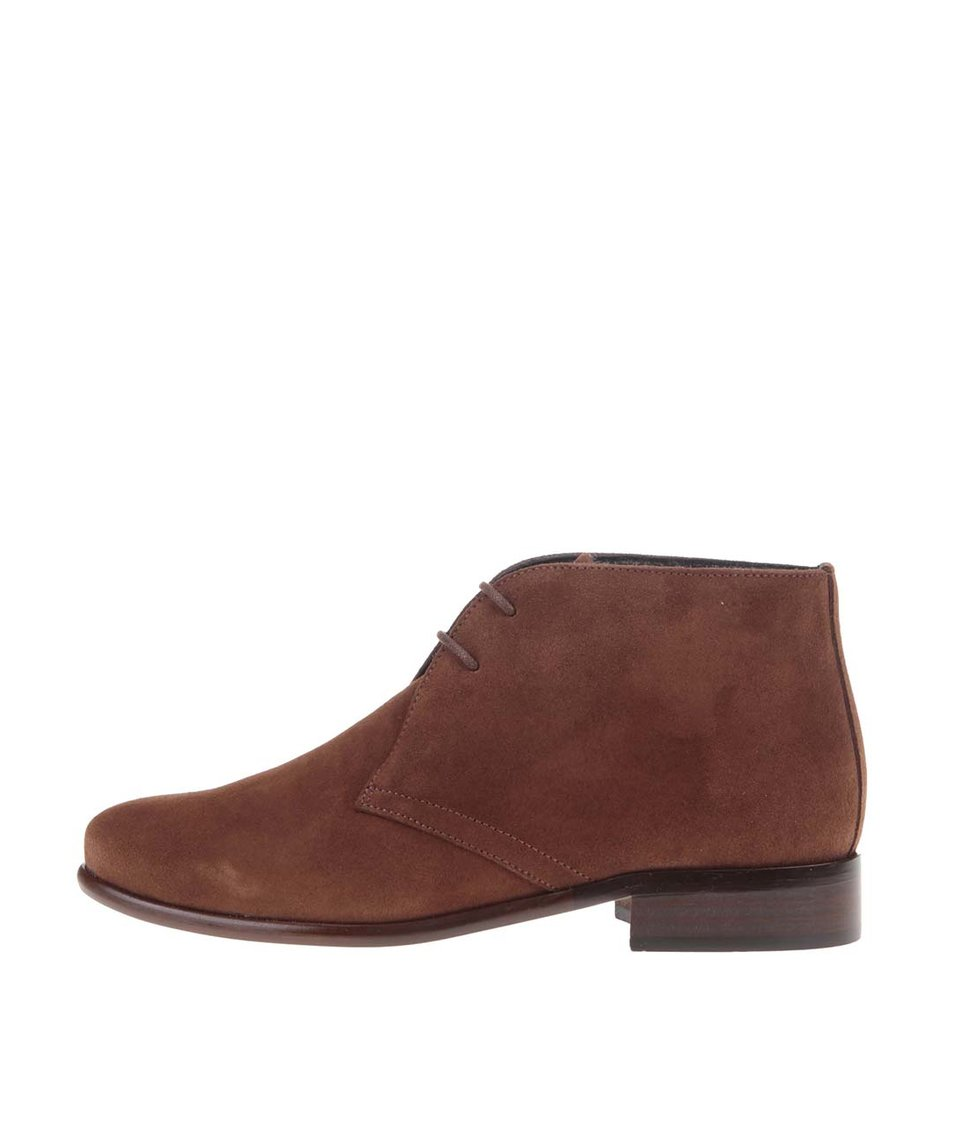 Hnědé kožené kotníkové boty se semišovou úpravou OJJU
