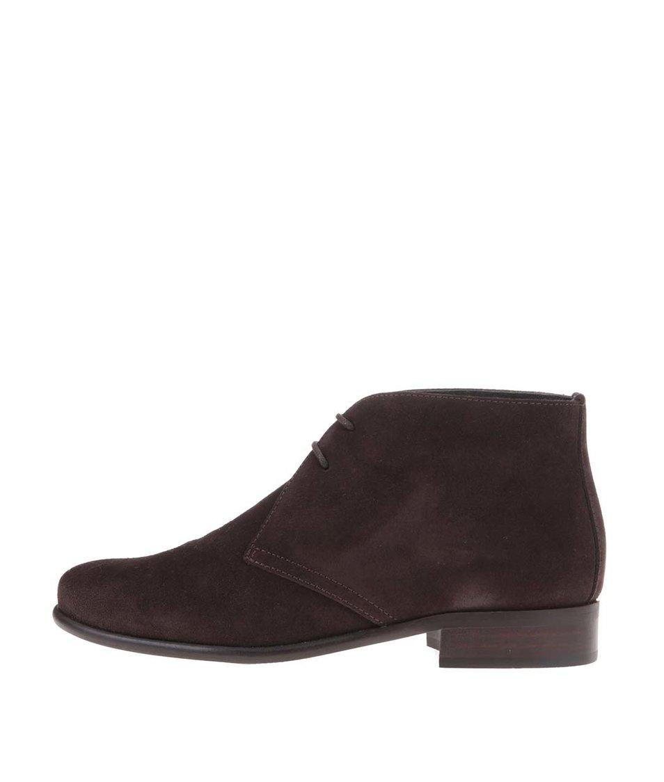 Tmavě hnědé kožené kotníkové boty se semišovou úpravou OJJU