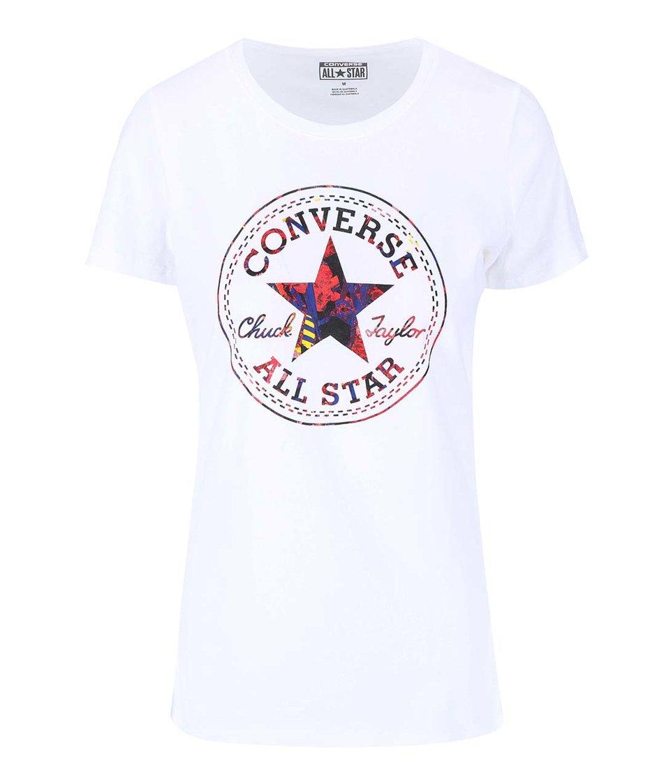 Bílé dámské tričko s barevným logem Converse