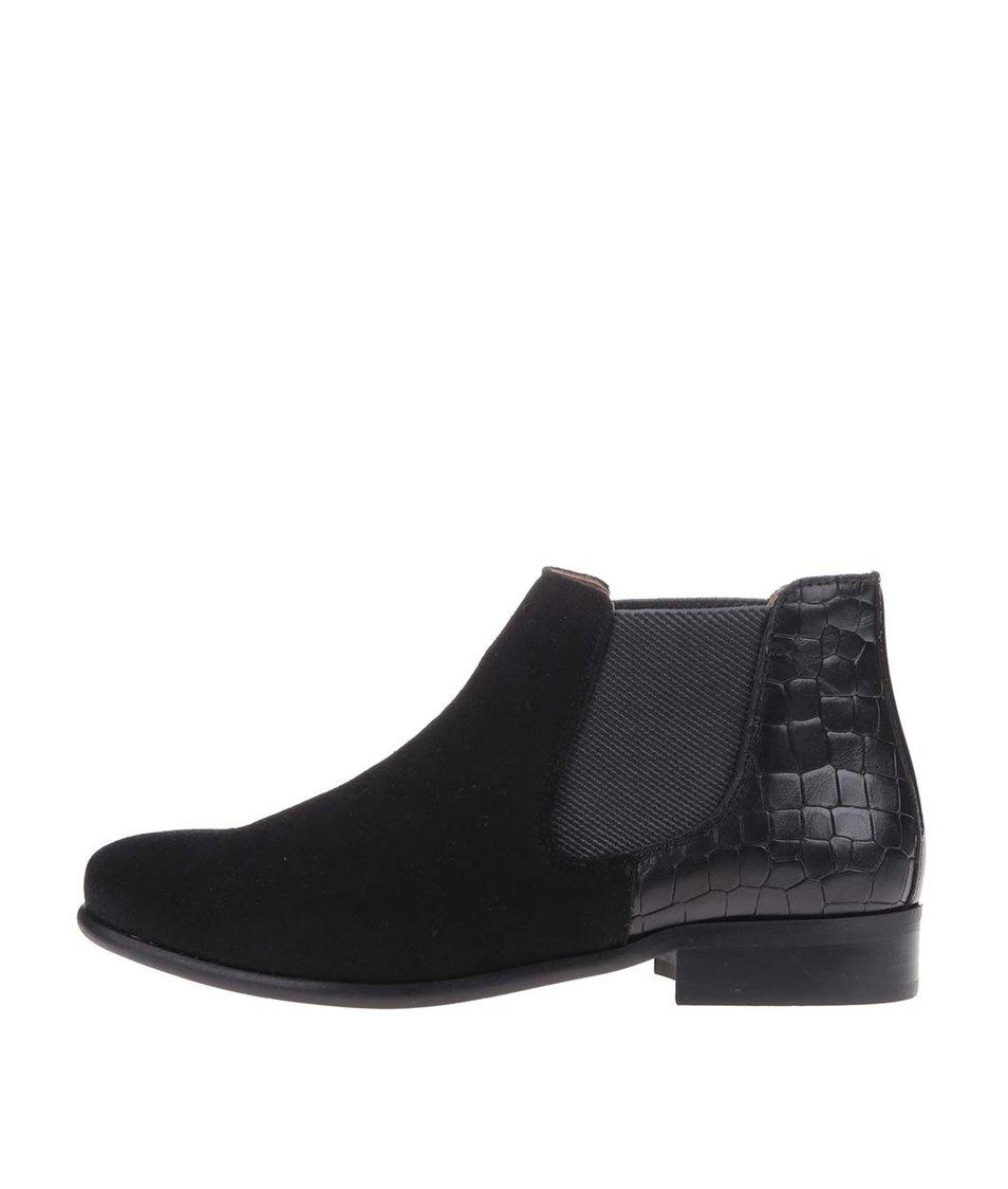 Černé kožené chelsea boty se semišovou úpravou OJJU