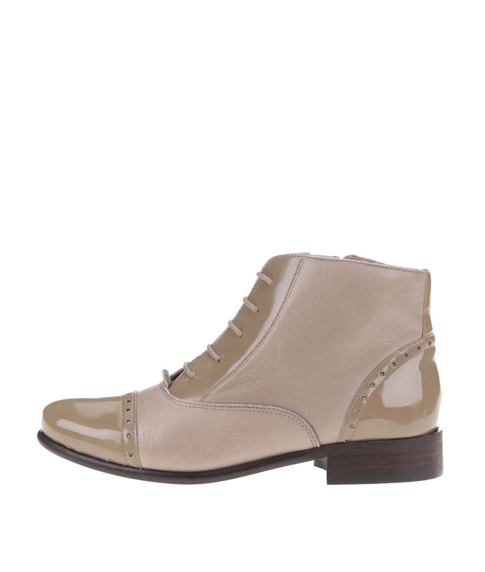 Béžové kožené kotníkové boty se zipem OJJU