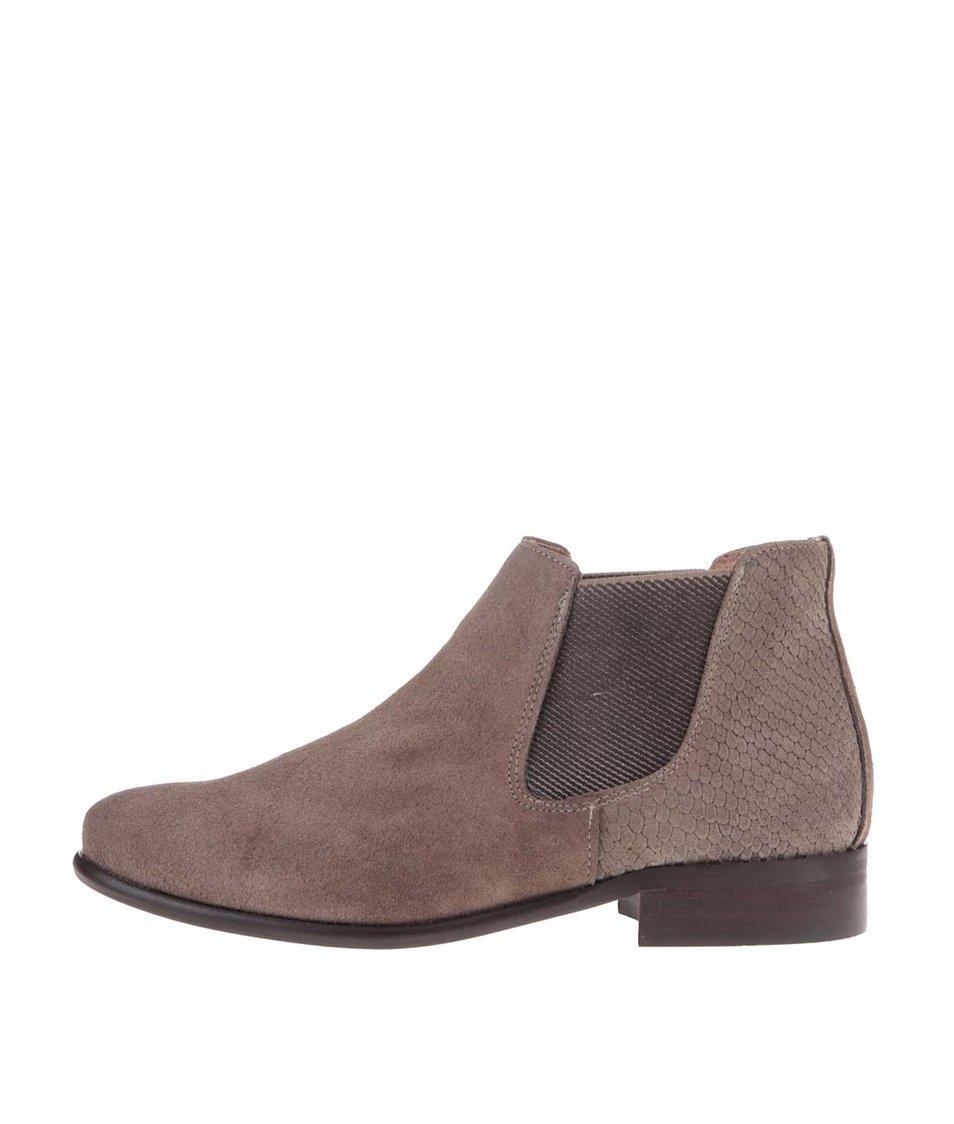 Hnědé kožené chelsea boty se semišovou úpravou OJJU