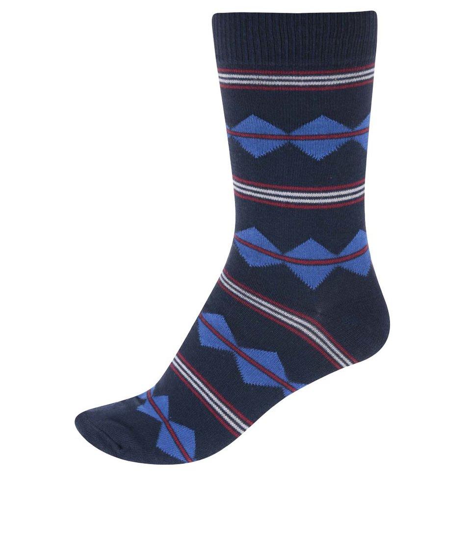 Vínovo-modré pánské ponožky se bílými proužky !Solid Rylen