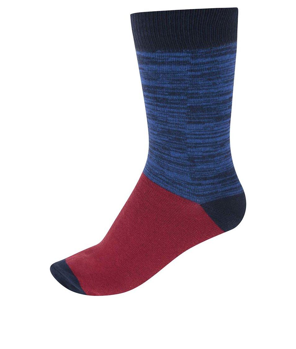 Červeno-modré pánské ponožky se vzorem !Solid Rylen
