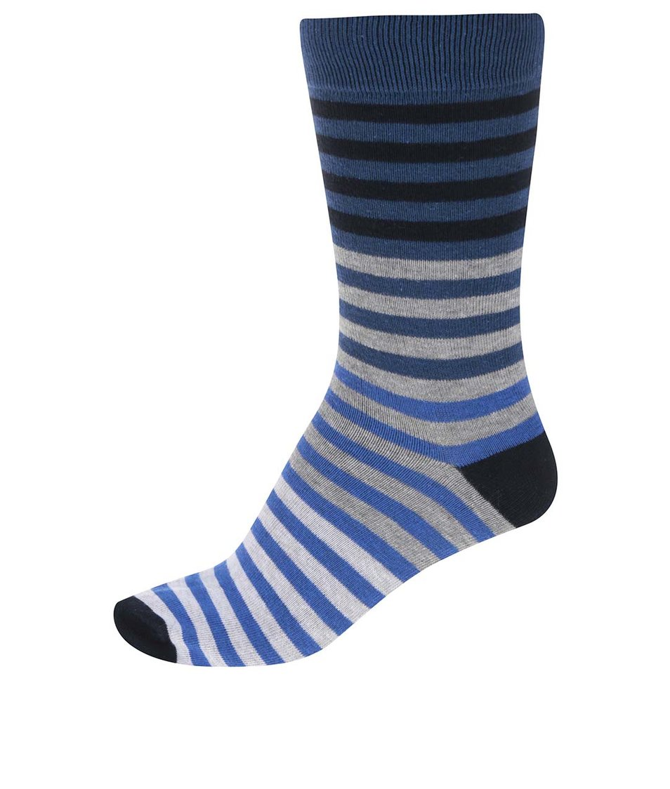 Šedo-modré pánské ponožky s pruhy !Solid Sepp
