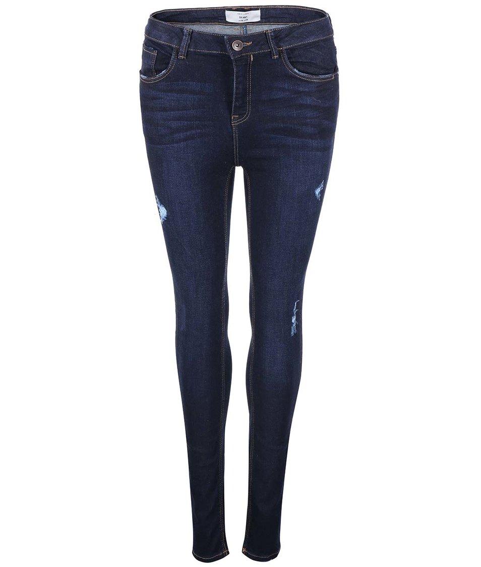 Tmavě modré skinny džíny s vyšším pasem New Look