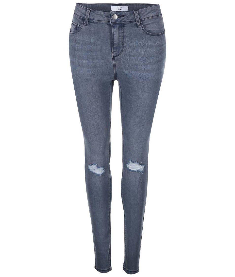 Šedé skinny džíny s vyšším pasem New Look