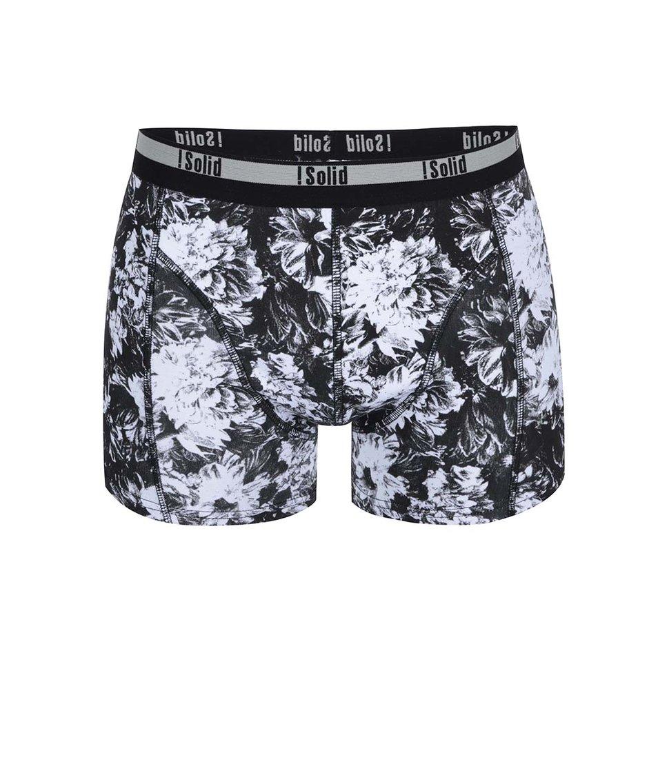 Bílo-černé boxerky s květinovým vzorem !Solid Semaj
