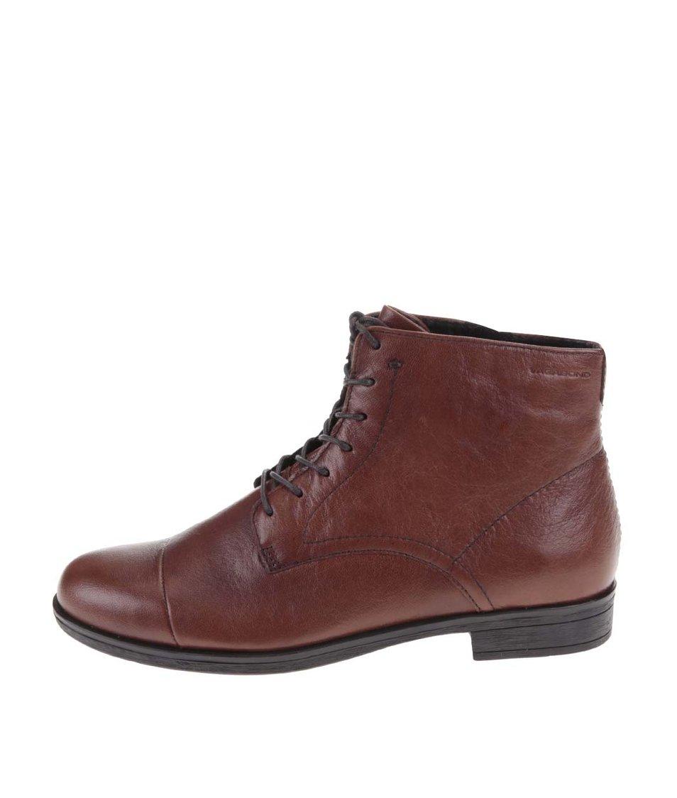 Hnědé kožené kotníkové boty Vagabond Code