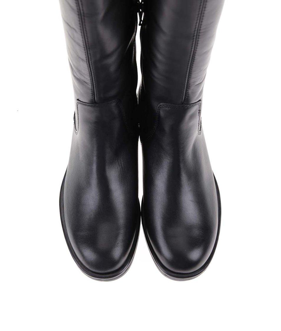Černé kožené kozačky s ozdobným zipem Vagabond Aberdeen