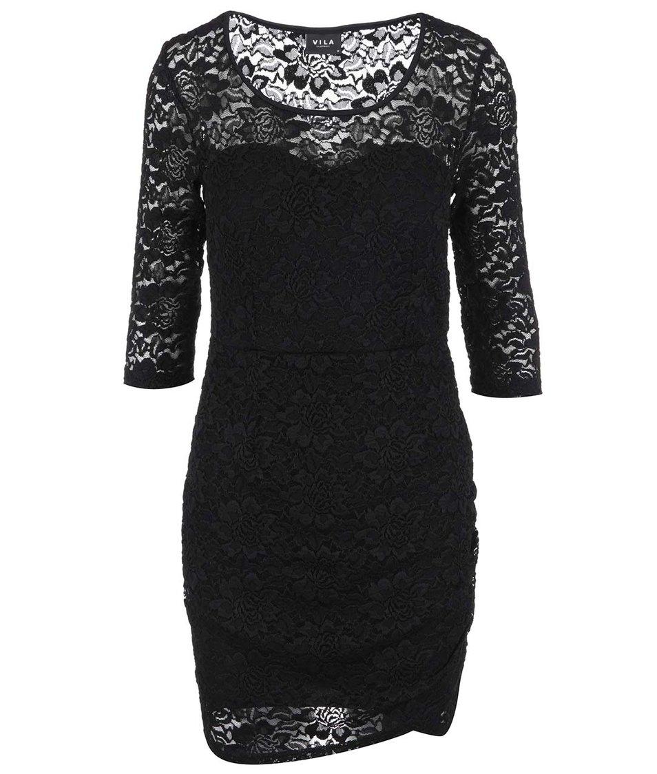 Černé krajkované šaty s 3/4 rukávem VILA Sola