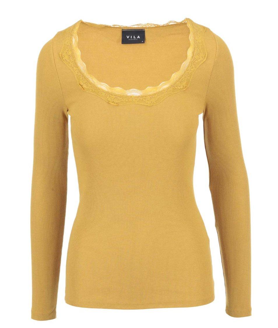 Žluté tričko s krajkovým detailem VILA Falls