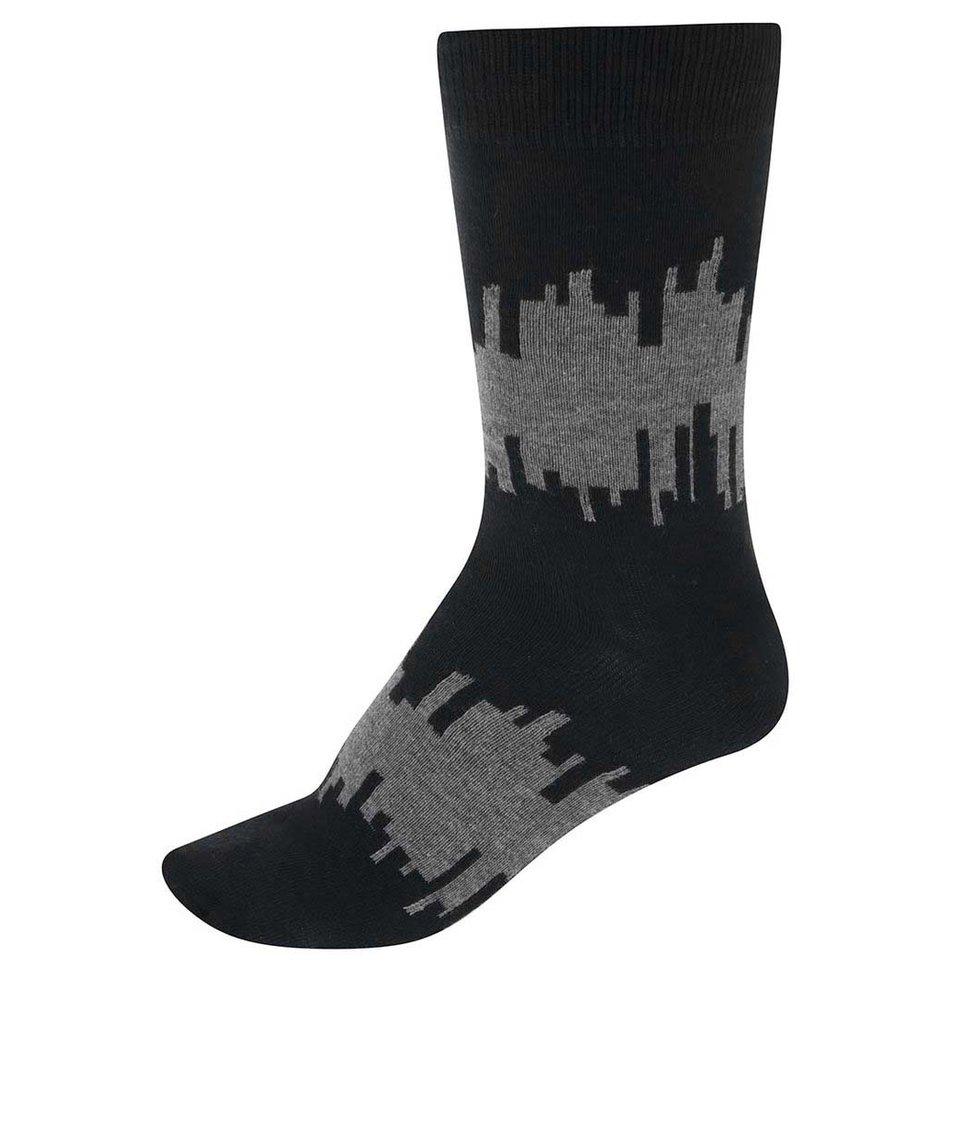 Šedo-modré pánské ponožky s detaily !Solid Sepp