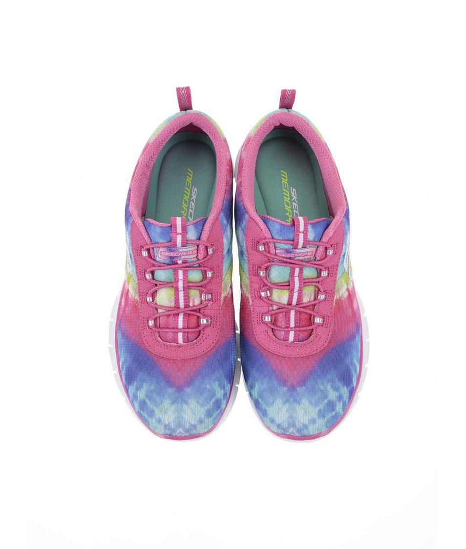 Modro-růžové dámské vzorované sportovní tenisky Skechers Psychedelic