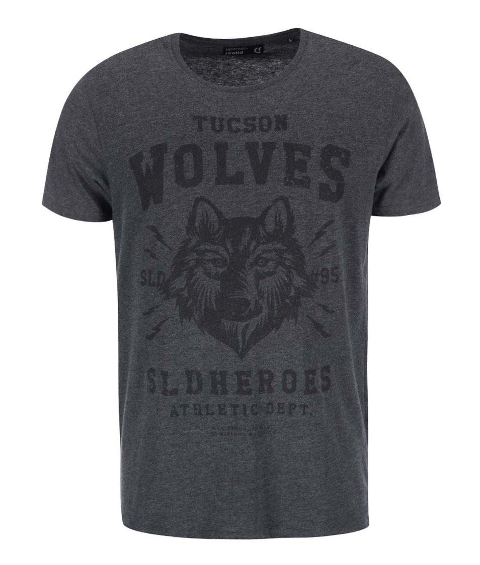 Tmavě šedé triko s potiskem vlka !Solid Raju