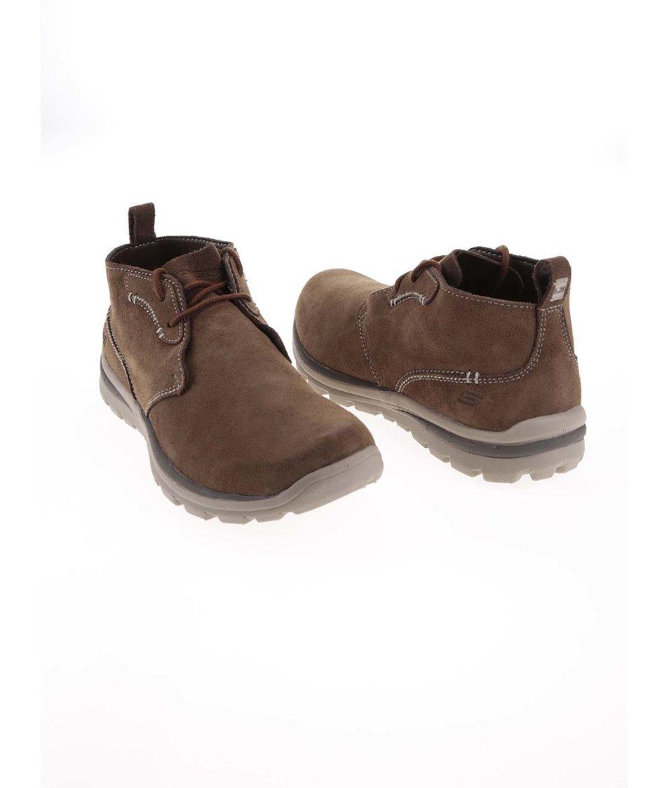 Hnědé pánské kožené kotníkové boty Skechers - Vánoční HIT!  5b21902816