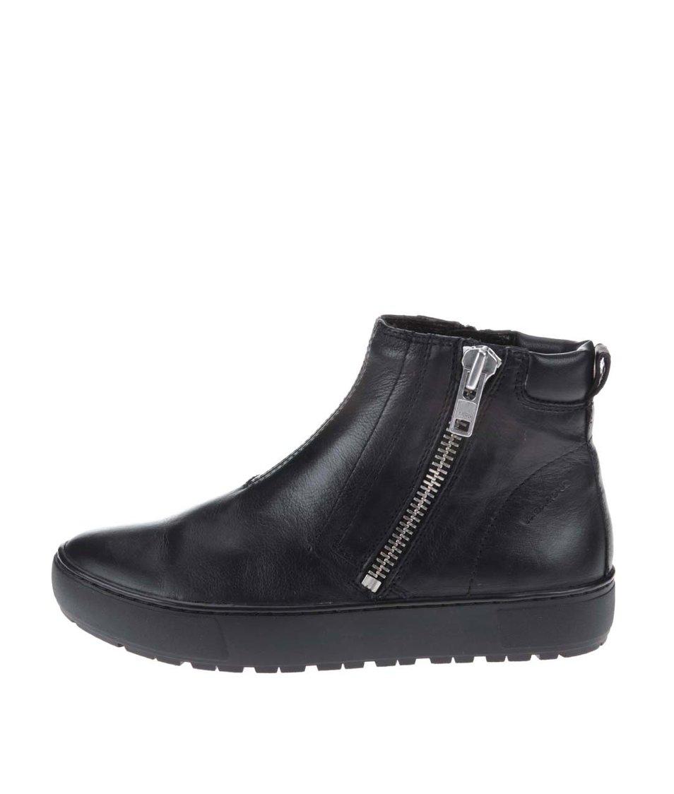 Černé kožené kotníkové boty Vagabond Bree