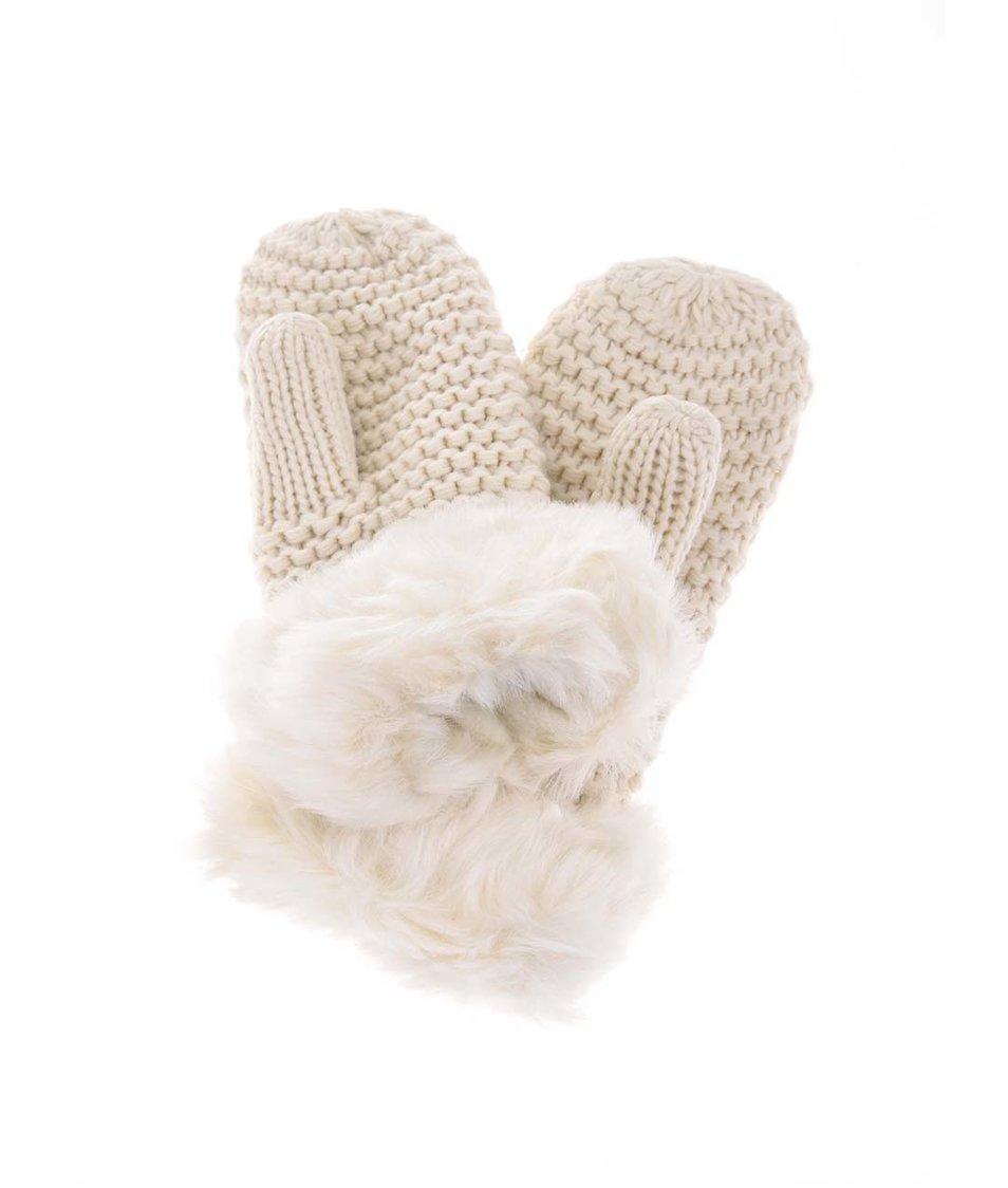 Krémové pletené palčáky Pieces Vivika