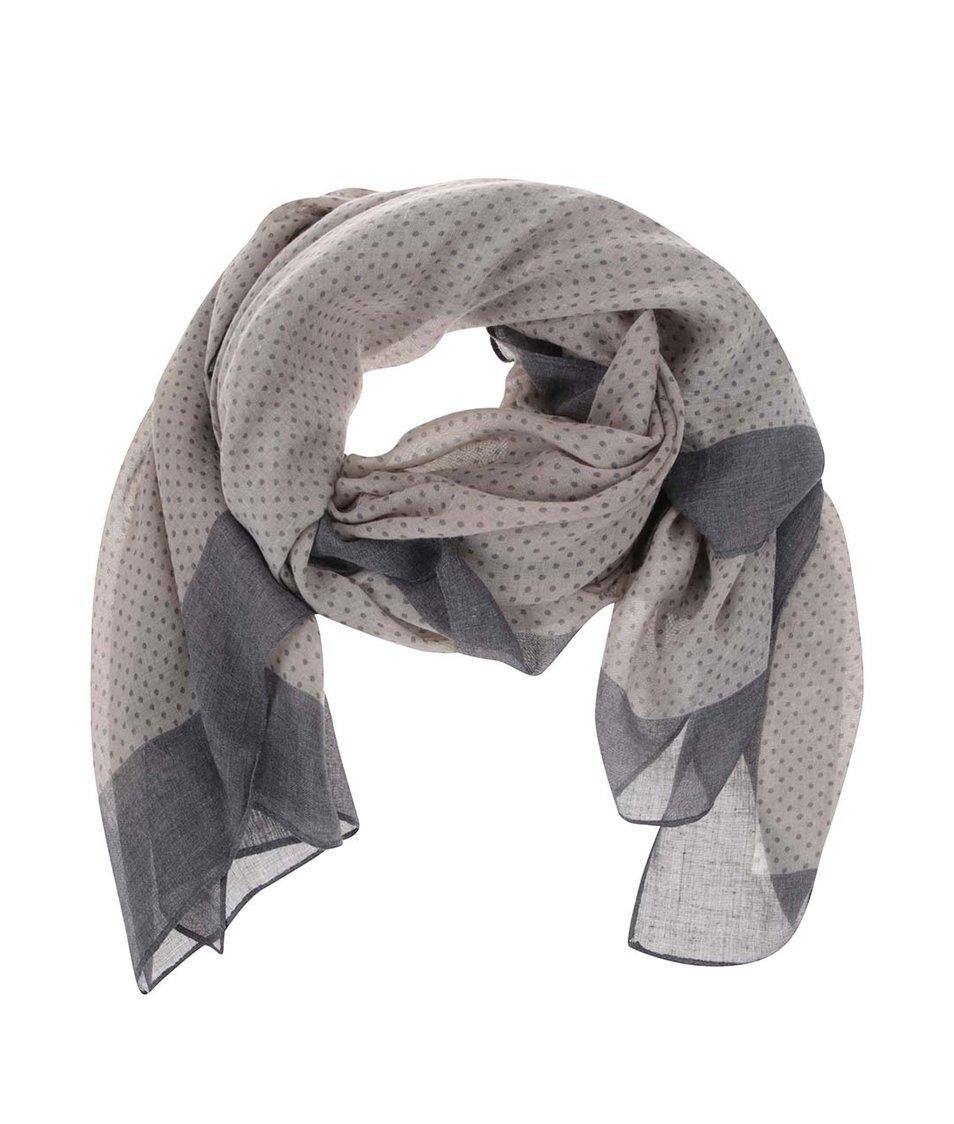 Modro-šedý vzorovaný šátek Pieces Vonda