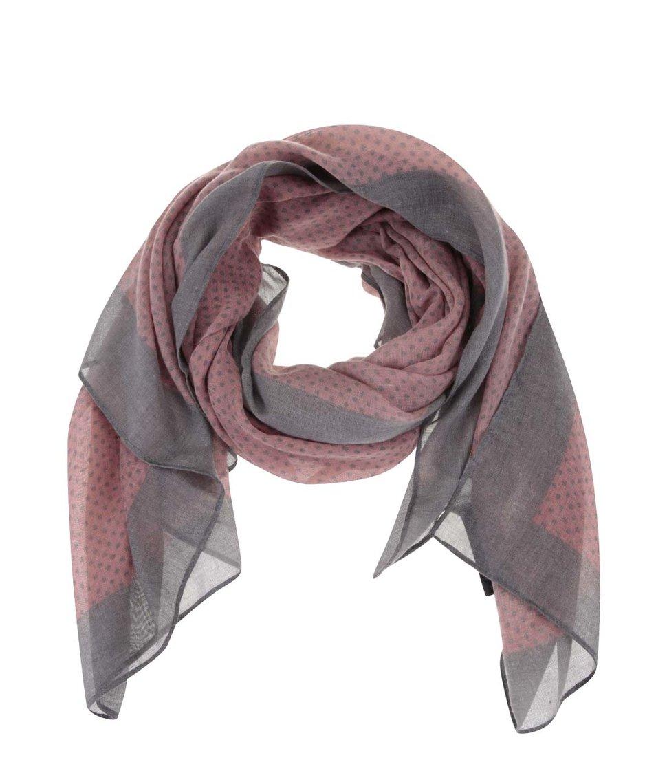 Šedo-růžový vzorovaný šátek Pieces Vonda