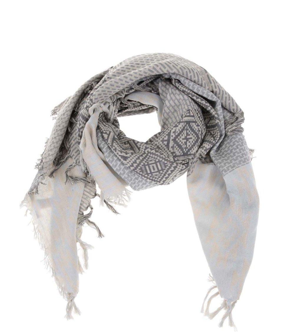 Šedo-modrý vzorovaný šátek Pieces Vova