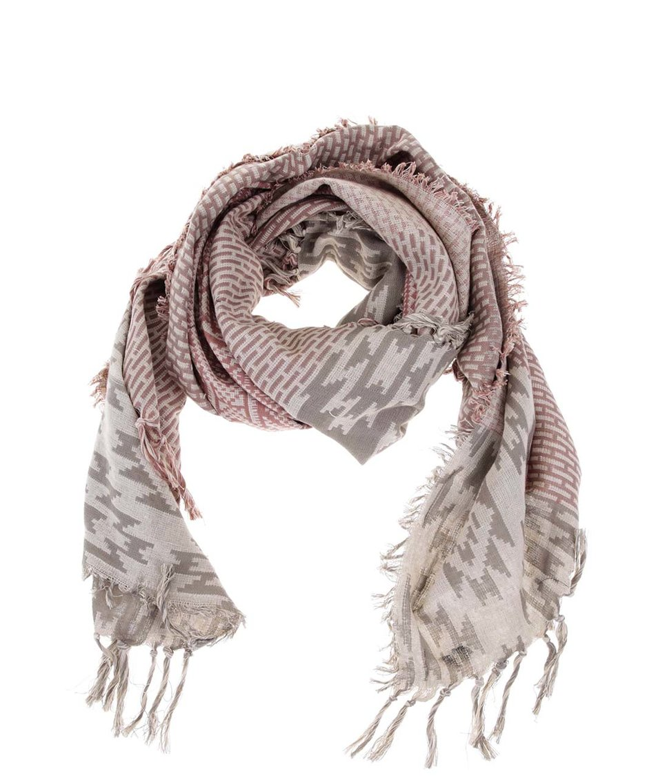 Šedo-růžový vzorovaný šátek Pieces Vova