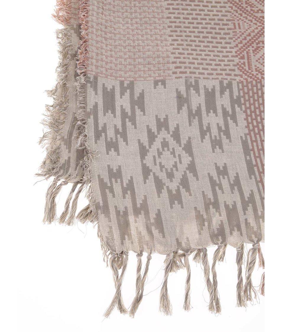 Šedo-růžový vzorovaný šátek Pieces Vova - Vánoční HIT!  0988ce787b