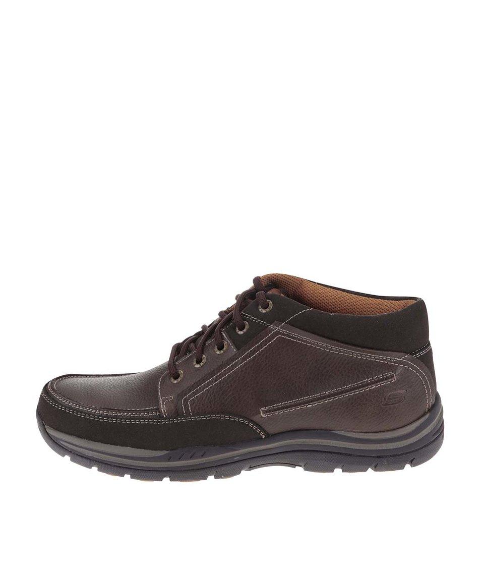 Tmavě hnědé pánské kožené kotníkové boty Skechers Expected