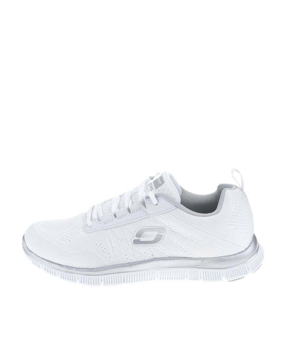 Stříbrno-bílé dámské sportovní tenisky Skechers Sweet Spot