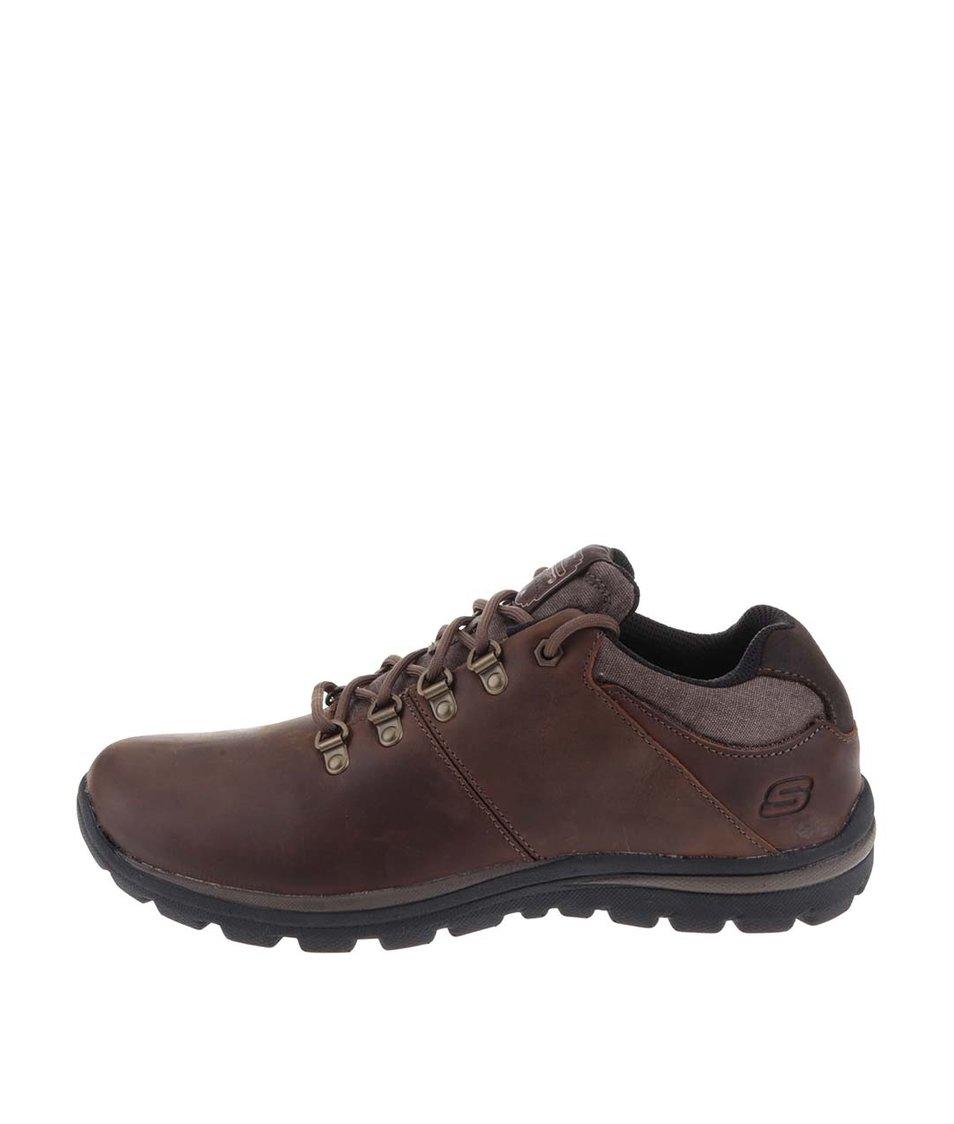 Tmavě hnědé pánské kožené kotníkové boty Skechers Expected - Vánoční ... d61f86f00b